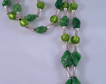 Long necklace made of glass beads and magnesite nuggets and intermediate parts made of 925 silver
