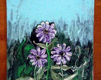 Abstract Background with Purple Flowers Acrylic Painting