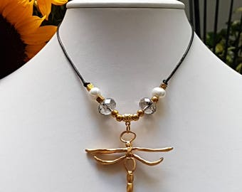 Leather dragonfly pendant necklace. Dragonfly Necklace. Leather Necklace.
