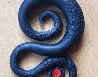 Mystical pendant made from polymer clay with red stone (for a leather strap)