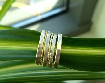 Silver or 14k gold stacking rings