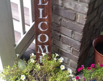 RUSTIC WELCOME SIGN, Vertical welcome sign, front door welcome signs, welcome sign for front door, welcome signs, wood sign