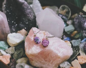 Purple Solar Quartz Necklace - Sterling Silver - Hippie Boho Bohemian Gypsy Crystal Healing Jewelry