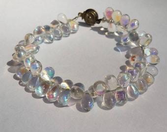 Clear/Rainbow Glass Tear Drop Bead Bracelet