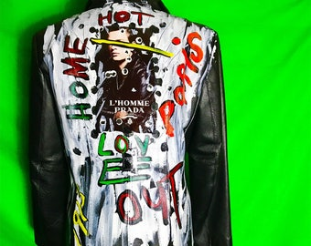 PRADA Hand painted by me leather jacket