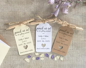 Pencil Us In Save the Date Wedding Tag Invitation Card With Pencil & Envelope Pack of 10