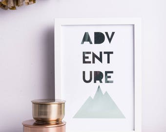 Adventure | A4|  A3 | Print | Mint Foil | Typography | Nursery | Wedding Gift | Engagement Gift | Travel