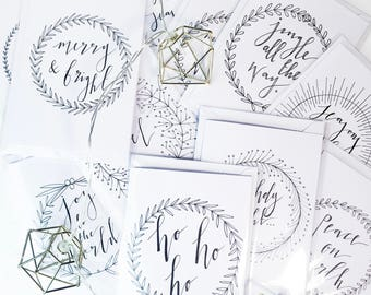 Pack of 10 Hand-Lettered Christmas Cards // Christmas Card Pack // Calligraphy Christmas Cards // Minimal // Monochrome Christmas Card