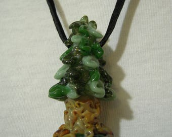 Flameworked glass pine tree pendant