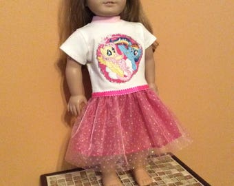 "Handmade to fit  American Girl 18"" Doll My Little Pony Dress"