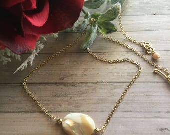 Nacre necklace. Mother of Pearl necklace. Gold filled choker. Pearl nacre choker.