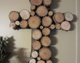 Wood Slice Rustic Cross