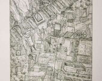 Etching / Gentrification / Entramados / Printmaking