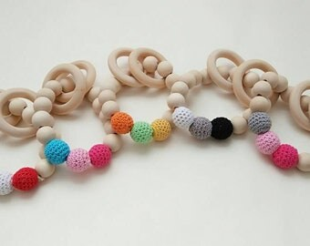 Baby wooden teether - Rattle colors