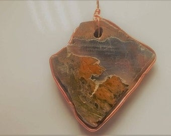 """Outstanding Raw and Rough cut Deschutes River Valley Jasper Pendant w/30"""" black leather chain"""
