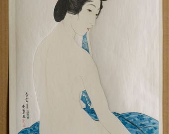 Authentic original antique Japanese woodblock print by HASHIGUCHI GOYO (December 21, 1880 – February 24, 1921) - Woman after the Bath.