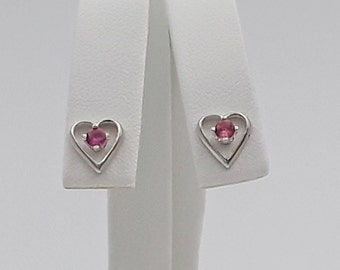 Sterling Silver Lab Pink Sapphire Heart Earrings