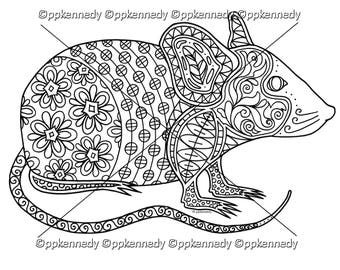 Mouse Zentangle Coloring Page