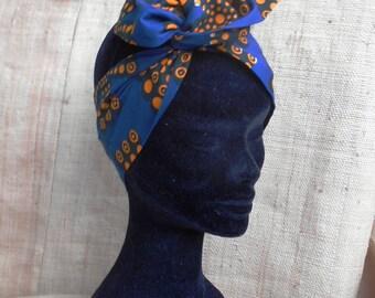 African turban, stiff wax for girls and women, wax blue-yellow headband