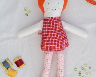 Doll made of cotton fabric with embroidered face, Sophie.
