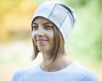 Women beanie hat Light purple slouch jersey beanie Hat for ladies Adult scull cap Spring hat Cotton lining Slouchy hat for her Womens beanie