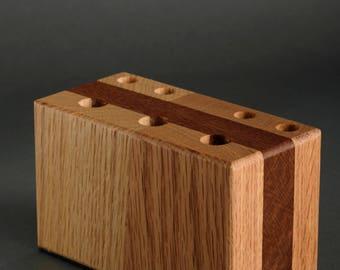 Solid Oak / Mahogany pen / pencil Holder