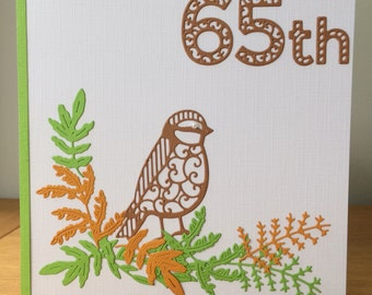 65th Bird and Leaves Card