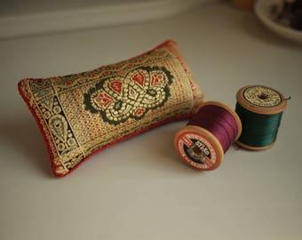 Vintage Indian Dress Fabric Pincushion