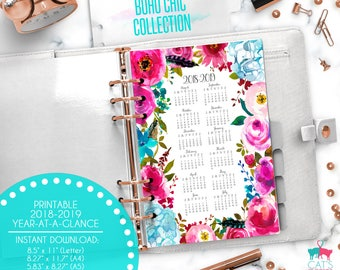 Printable Calendar A5 A4 Letter Watercolor Planners 2018-2019 Year at a Glance | Boho Chic Floral Collection | BCCYG1819