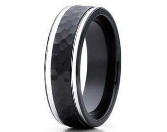 Black Zirconium Wedding Band Hammered Wedding Band Men's & Women's Wedding Band