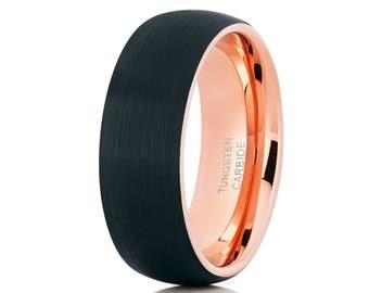 Tungsten Wedding Band Rose Gold Ring Black Brush Wedding Band Comfort Fit Men & Women