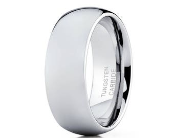 Tungsten Wedding Band Silver Tungsten Ring Men & Women Tungsten Carbide Ring Shiny Dome Band Engagement Ring