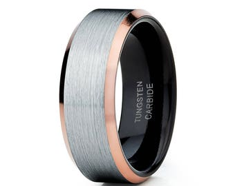 Black Tungsten Wedding Band Rose Gold Tungsten Ring Men & Women Silver Brush Tungsten Ring Engagement Tungsten Ring