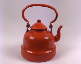 Vintage French Orange Enamel Teapot