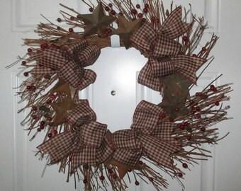 Rusty Stars twig wreath burgundy, cream gingham bows and pip berries , pine cones, 21-inch diameter