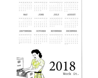 2018 Large Full Year Wall Calendar Work it