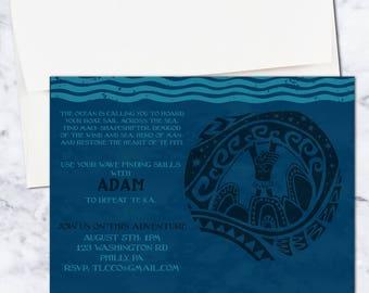Moana Birthday Invitation, 5x7, Blue, Boy, Digital Download