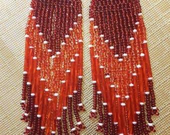 Red Long Beaded Earrings