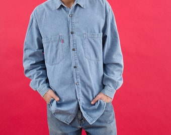 Bugle Boy, Denim Shirt, Vintage Chambray, Blue, 90s Shirt, Chambray Shirt, Chambray, Button Up Shirts, Hipster Shirt, Mens Button Up, Large