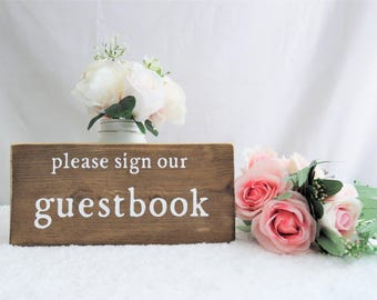 Wedding Guestbook Sign. Please Sign Our Guestbook Sign. Guest Book Sign. Wooden Guest Book Sign.  Rustic Wooden Wedding Sign. Wedding Signs.