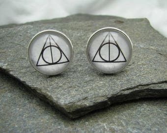 Harry Potter Deathly Hallows Cufflinks, Tie Clips, Tie Bars, Pins, Tie Tacks, Cuff Links, Lapel Pin