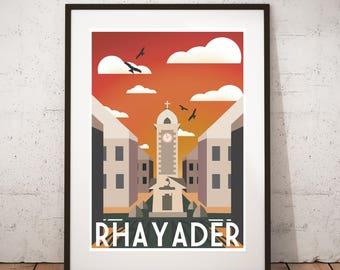 Rhayader Clock  - Vintage travel, tourism print : A3 size.