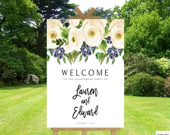 Engagement Party Decorations Engagement Party Sign Engagement Party Banner Engagement Decorations Template Cream Gray Welcome Sign Decor