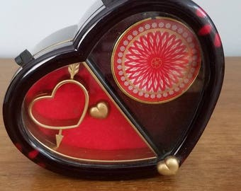 Vintage Heart Shaped Music Box, Wind Up Music Box