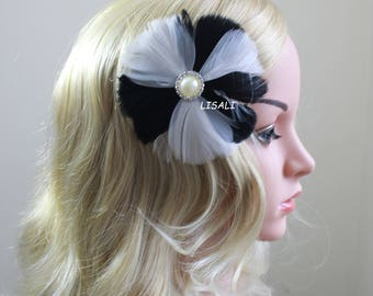 LISALI Wedding Hair Accessory, Bridal Feather Fascinator, Black and Diamond White Hair Accessory, Bridal Head Piece Feather hair clips