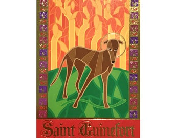 St Guinefort the Greyhound Saint 4x6 inch print with gold foil details