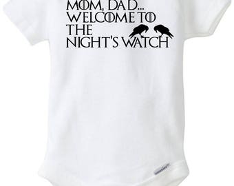 Game of Thrones, Night's Watch, Jon Snow, HBO fan, GOT, new parents onesie