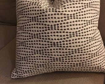 Terris fun and cozy, double sided pillow of cotton and poly.  Same pattern in black and white available.