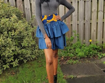 FOLKSHELF African Print High Waist Denim Layered Skirt