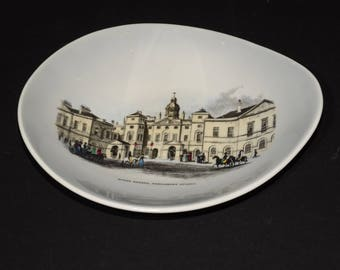 CROWN STAFFORDSHIRE CHINA, Vintage dish, coin tray, Pin tray Dish, Horse guards, Parliament street, Queensberry Tableware, England